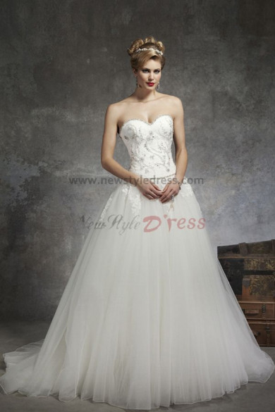 Sweetheart Chest Appliques Brush Train Princess Pattern wedding dresses nw-0141