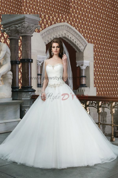 Sweetheart Chest With beading Sweep Train Princess Discount wedding dresses nw-0130
