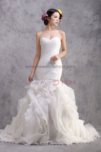 Ruffles Sheath Mermaid Glass Drill Sashes Lace Up Glamorous Wedding Dresses nw-0200