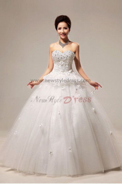Sweetheart flower Ball Gown Wedding Dresses Chest With Sequins wholesale nw-0077