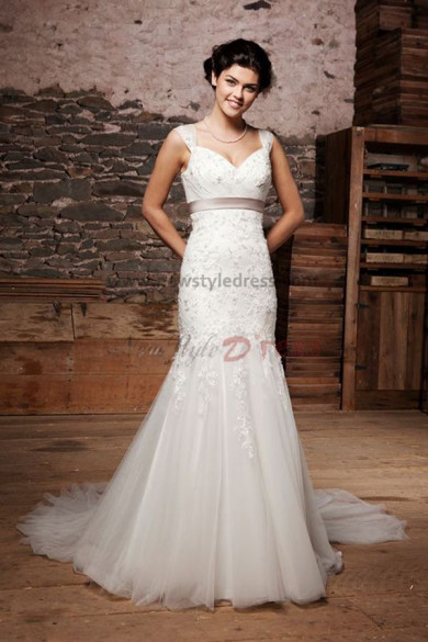 Tank Sweetheart Appliques Mermaid tulle wedding dress nw-0252