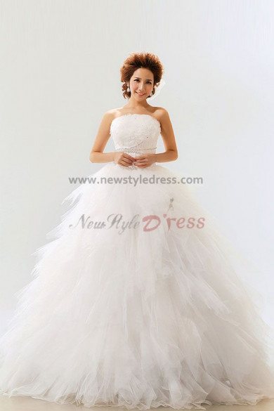 Tiered Strapless Tulle Ball Gown Floor-Length Wedding Dresses nw-0066