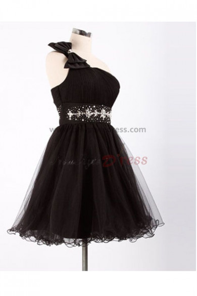 Black One Shoulder Tiered beading Glamorous Homecoming Dresses nm-0090