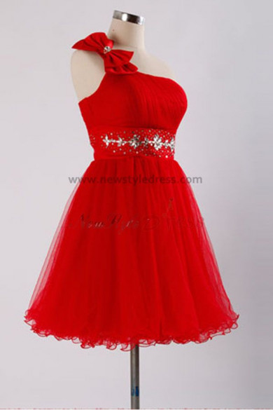 Under 100 Sashes With beading Glamorous Rose Red One Shoulder With a bow Tiered Homecoming Dresses nm-0092