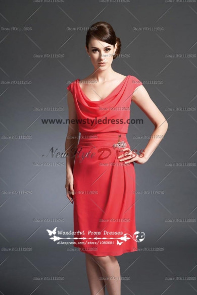 Watermelon Cowl Neck Knee-Length lovely Informal prom dress under 100 cms-048