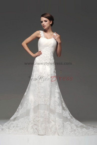 suspenders Hand beading Embroidery Lace Wedding Dresses Chapel Train nw-0109