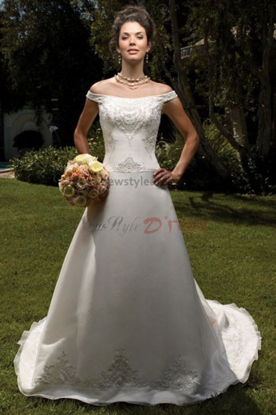 a-line Off-the-shoulder Appliques Sweep Train Classic Hot Sale wedding dress nw-0214