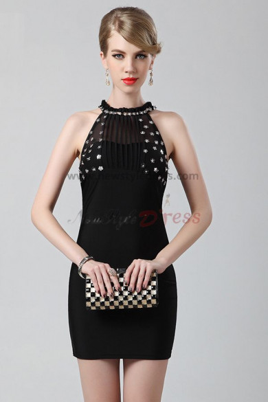 Balck Halter Above Knee New Arrival Sheath Cocktail dresses nm-0218