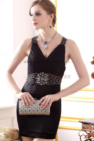 Ivory/black V-neck Crystal Above Knee Glamorous Sexy Prom Dresses With Vest nm-0256