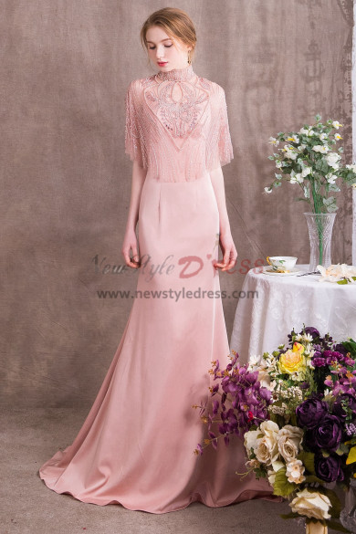 Bare Pink Charmeuse Prom dresses With Delicate Hand beaded cape NP-0370