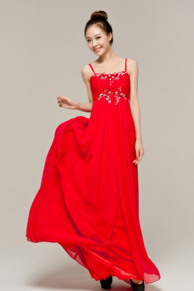 Spaghetti Chest With beading Glass Drill red Length Prom Dresses nm-0135
