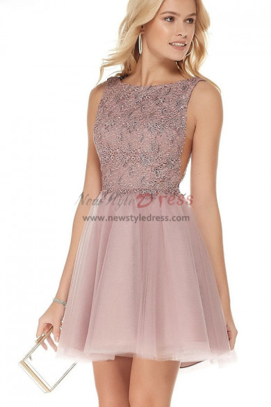 Pearl Pink Homecoming Dress with Embroidered Bodice,Bean Paste Short Dress sd-017