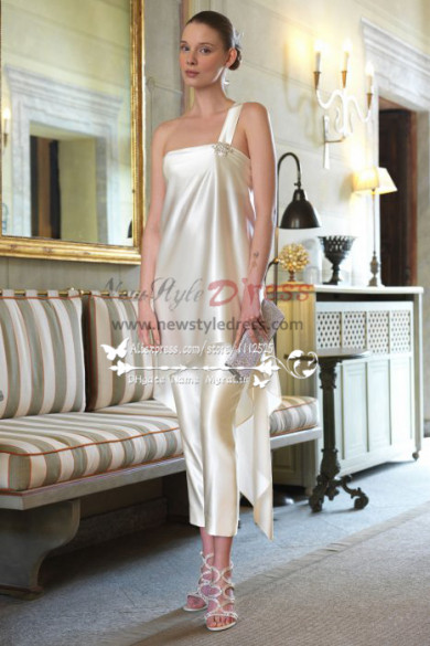 Beautiful cream One Shoulder pants suit dresses for wedding wps-035