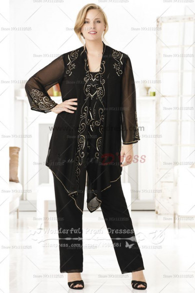 black Chiffon Appliques Modern mother of the bride dress pants sets nmo-084