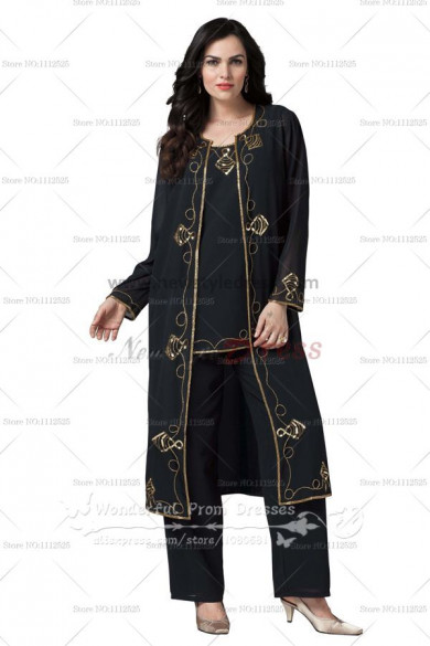 black Windbreaker mother of the bride dress pants sets nmo-079