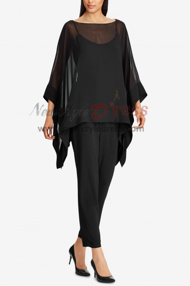Black Chiffon Women Overlay Top pants suit Evening wear nmo-394