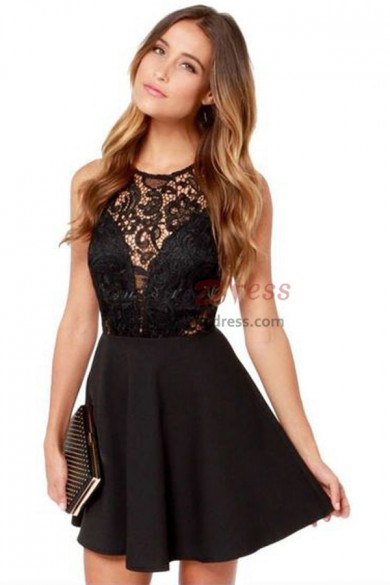 Black lace Sexy Above Knee Homecoming Dresses nmo-355