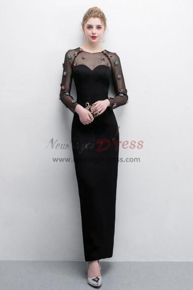 Black Sheath Prom dresses With Crystal Fashion Mesh  Fabric NP-0381