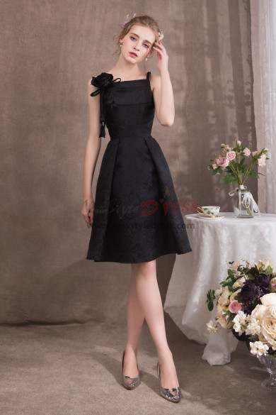 Black Spaghetti Knee-Length Prom dresses With Handmade flower NP-0415