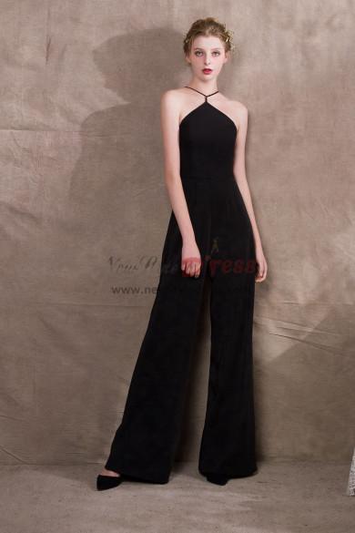 Black Stretch Chiffon Spaghetti Jumpsuits Womens special occasion dressy NP-0400