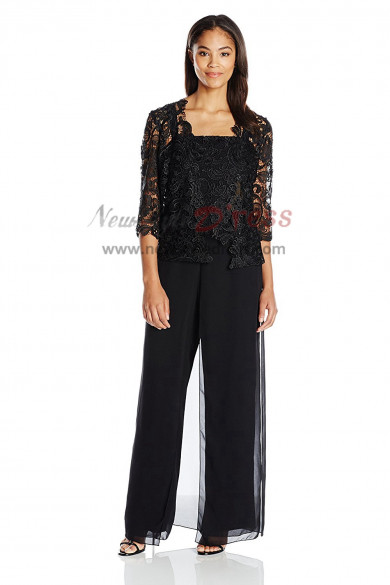 Black Venice lace Outfit Mother of the bridal pantsuits nmo-413
