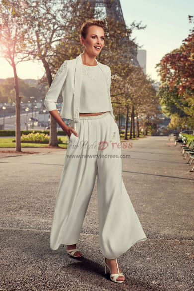 Bridal Pantsuits Modern Wedding dresses Hand beaded Wide Leg Pants wps-125
