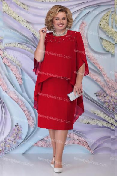 Burgundy Chiffon Knee-Length Mother Of The Bride Dress Plus Size Women