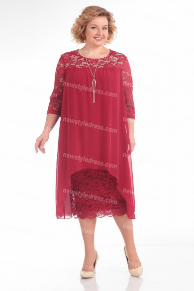 Burgundy Lace Mother Of The Bride Dress Plus Size Women