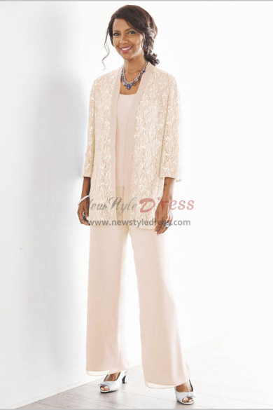 Champagne Mother of the bride pant suits dresses Elastic waist Spring Women pants outfit nmo-533