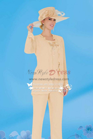Chiffon Mother of Bride Pant Suit Long Sleeve Formal Trousers set wedding outfit nmo-248