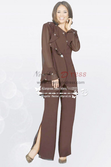 Chocolate Chiffon Three Piece mother of the pants sets nmo-077