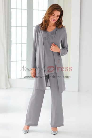 Classic Gray Beaded Chiffon Trouser outfit  Mother of the bride pantsuit  nmo-438