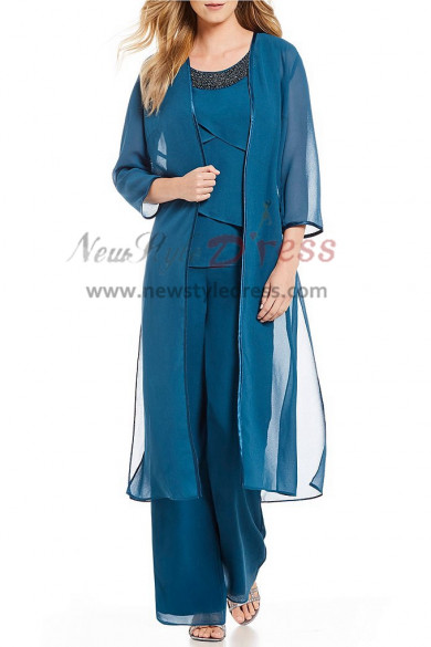 Classic Three pieces Chiffon Beaded Neck Mother of the bride pants suit nmo-399