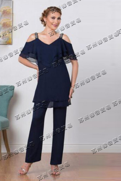 Dark navy Color Dew shoulder Mother Of The Bride Pants Suit