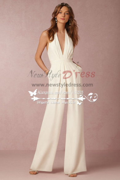 Deep v neek backless bridal pant suit dresses new style for Wedding dress pant suits