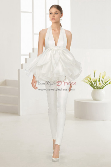 Deep V-neck Bridal Jumpsuit Halter wedding Gown wps-129