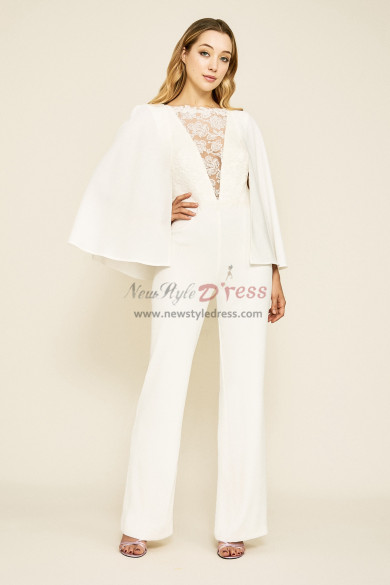 Dressy Bridal Jumpsuits Wedding Cape Gown wps-150