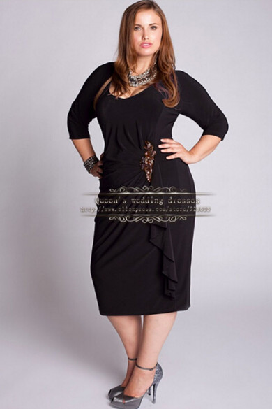Plus Size 3/4-length Sleeves Glamorous Mother of the bride dress cms-032