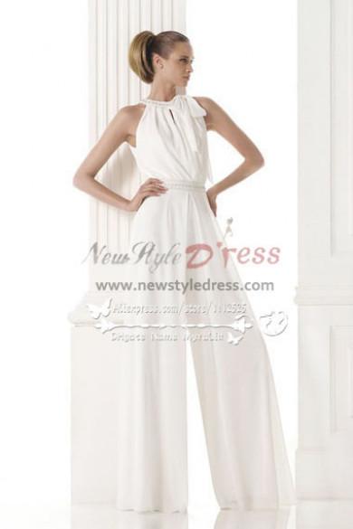 Jewel bride dress pantsuits white chiffon jumpsuit wps-004