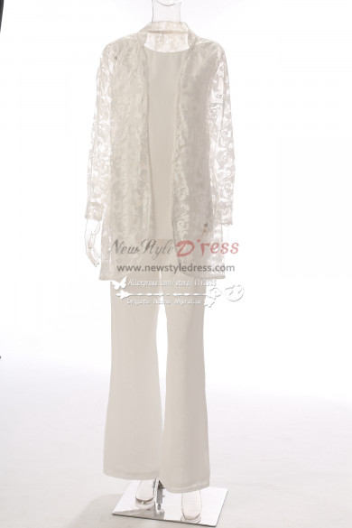 Elegant Ivory Lace Mother of the bride pant suits with jacket 3PC Outfit MT0017009