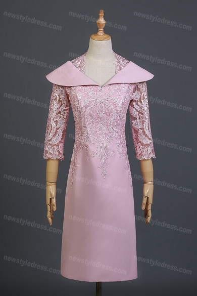 Elegant Mother of the Bride Dress See Through Queen Polyester Half Sleeve with Sequin Column Prom Dresses nmo-733
