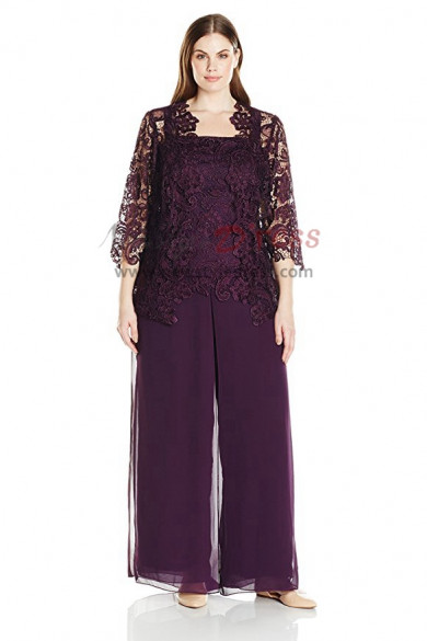 Elegant Plus size Purple Three pieces Lace mother of the bride pantsuit nmo-418