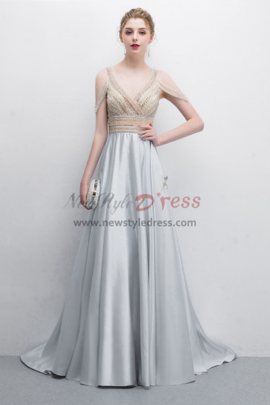 Elegant Silver Gray Prom dress Vest Hand beading Dress Special occasion Wear NP-0384