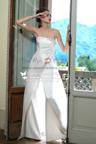Elegant Spring Satin Pants wedding dress wps-012