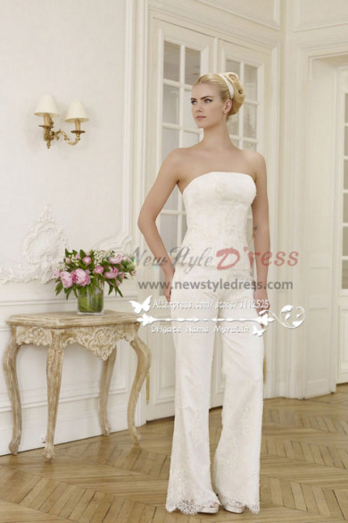 Elegant wedding pants suit lace dress with chiffon cloak wps-027