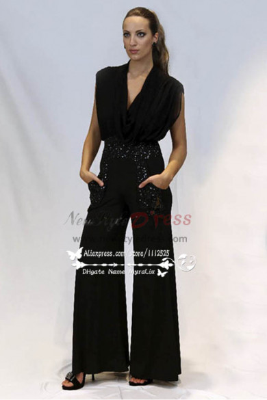 Fashion Black chiffon prom dresses chiffon Jumpsuit nmo-243