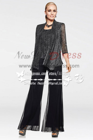Fashion Glitter three piece black mother of the bride pants suit nmo-157