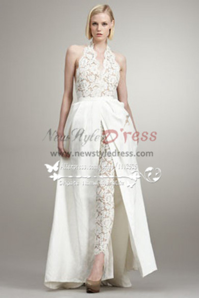 fashion sexy wedding pants dresses lace jumpsuit with detachable train  wps-026