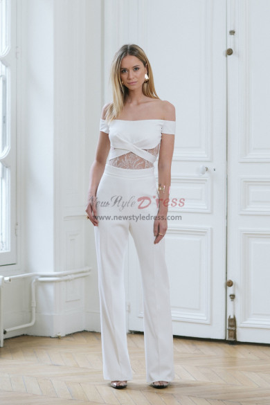 Glamorous Bateau Bridal Jumpsuit Summer Wedding dresses wps-130