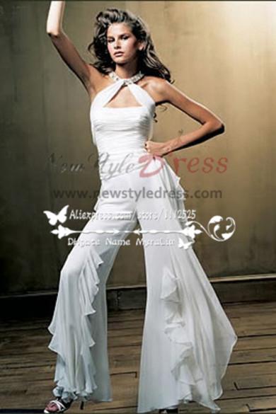 Glamorous Chiffon bridal jumpsuit with ruffles for wedding wps-025